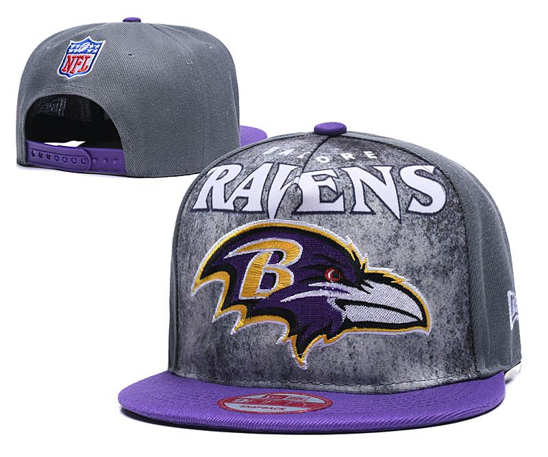 Ravens Team Logo Gray Purple Adjustable Hat TX