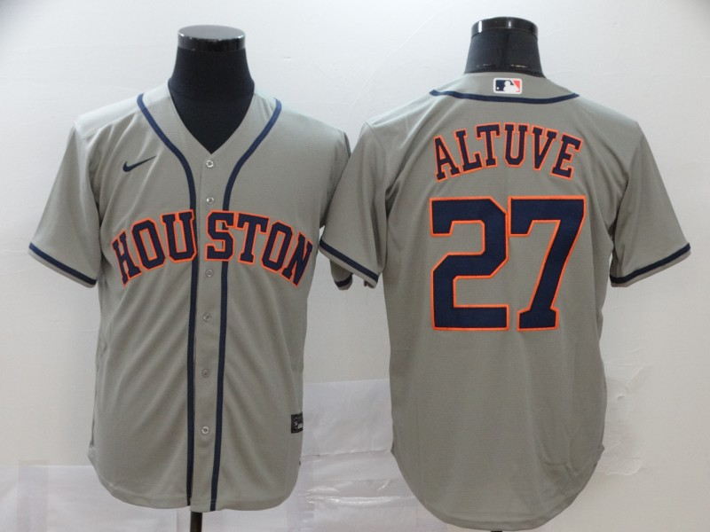 Astros 27 Jose Altuve Gray 2020 Nike Cool Base Jersey