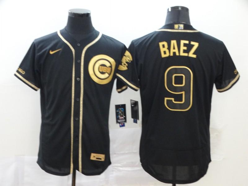 Cubs 9 Javier Baez Black Gold Nike Flexbase Jersey