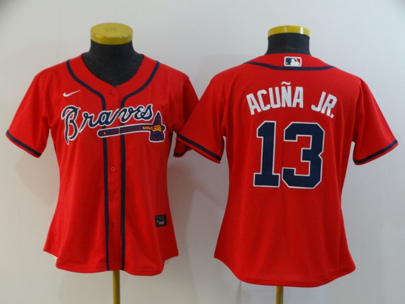 Braves 13 Ronald Acuna Jr. Red Women 2020 Nike Cool Base Jersey