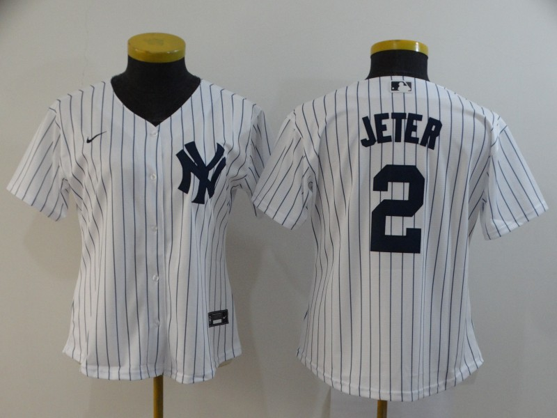 Yankees 2 Derek Jeter White Women 2020 Nike Cool Base Jersey