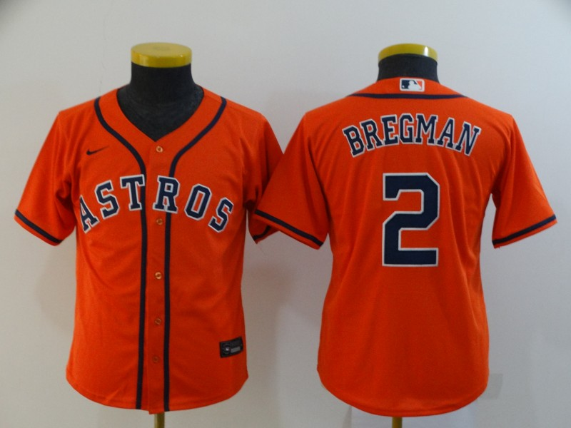 Astros 2 Alex Bregman Orange Youth 2020 Nike Cool Base Jersey