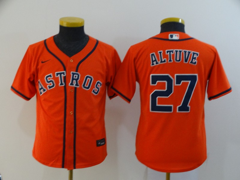 Astros 27 Jose Altuve Orange Youth 2020 Nike Cool Base Jersey