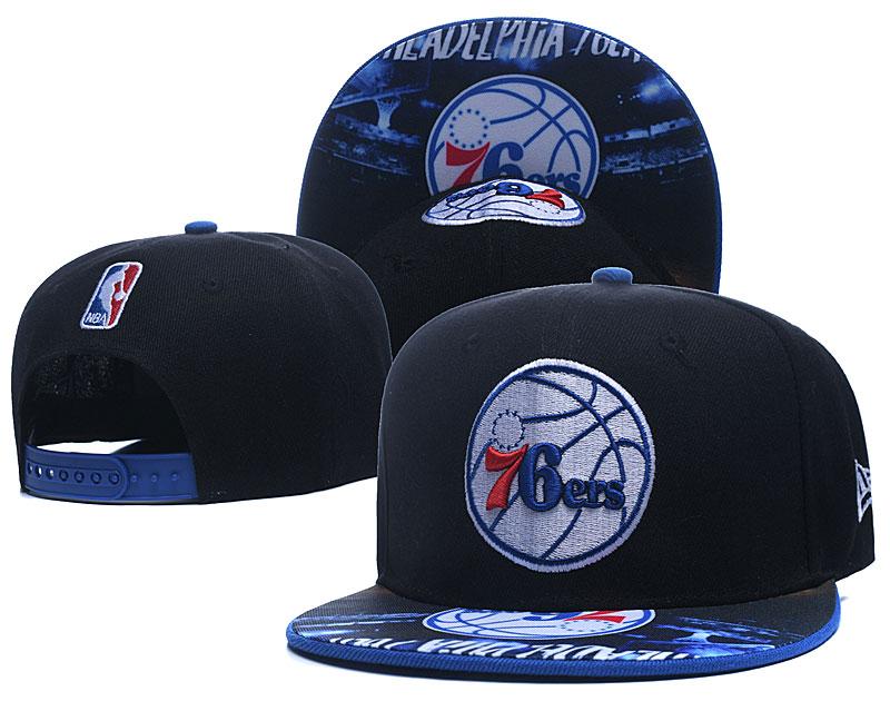 76ers Team Logo Black Adjustable Hat LH