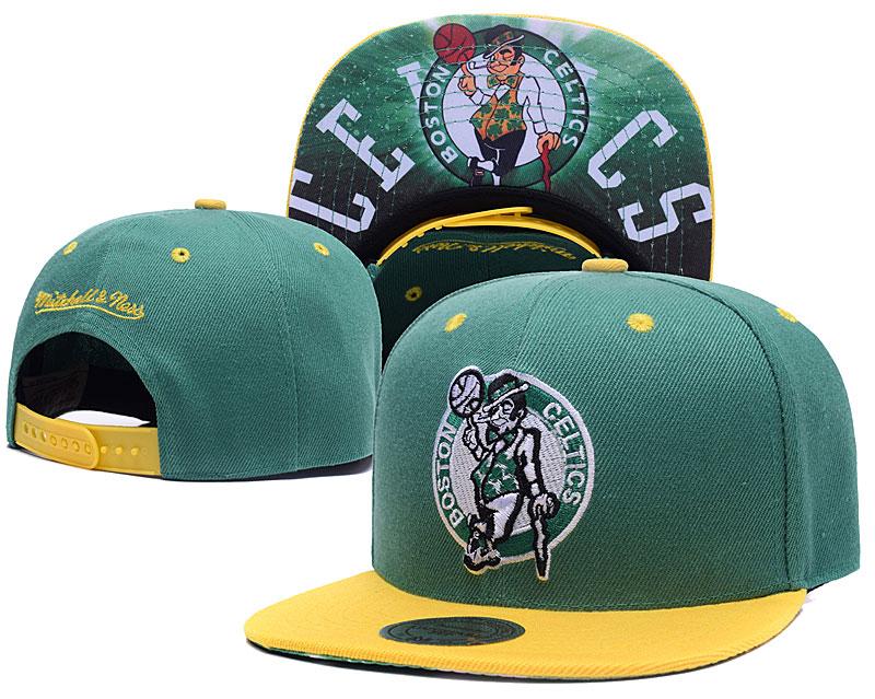 Celtics Team Logo Green Yellow Mitchell & Ness Adjustable Hat LH