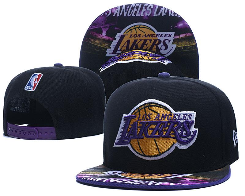 Lakers Team Logo Black Adjustable Hat LH