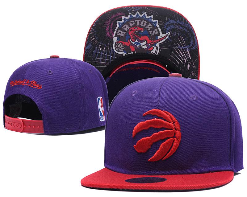 Raptors Team Logo Purple Red Mitchell & Ness Adjustable Hat LH
