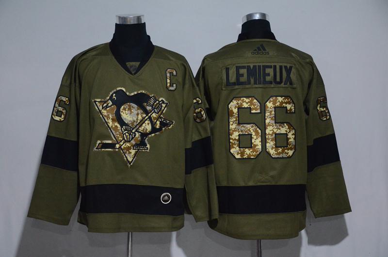 Penguins 66 Mario Lemieux Olive Adidas Jersey