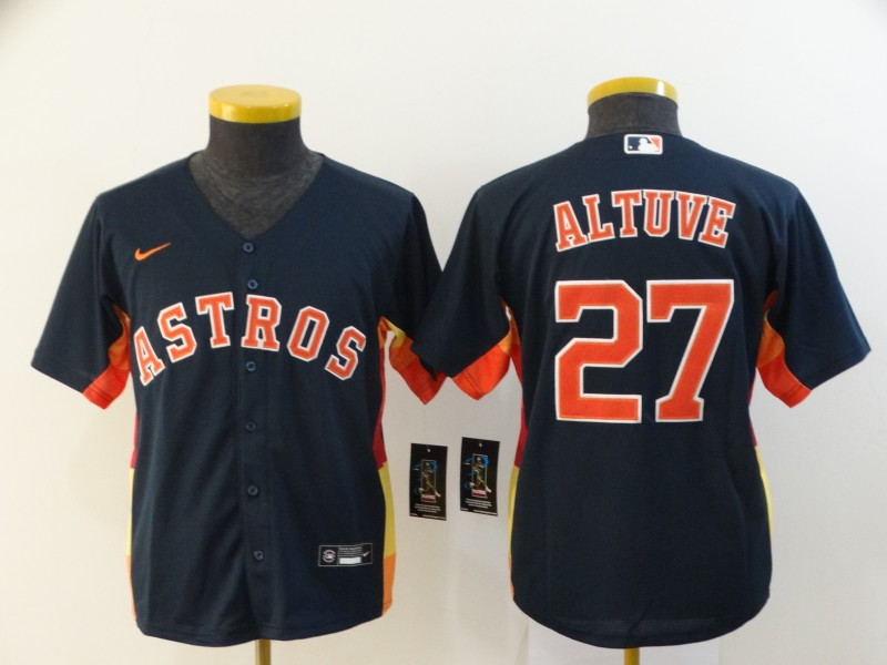 Astros 27 Jose Altuve Navy Youth 2020 Nike Cool Base Jersey