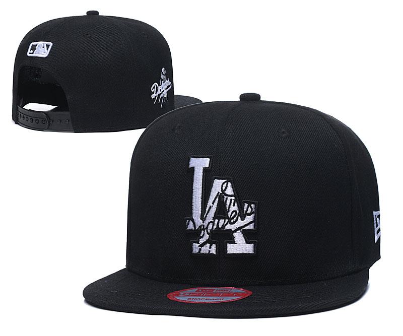 Dodgers Team Logo Black Adjustable Hat LT