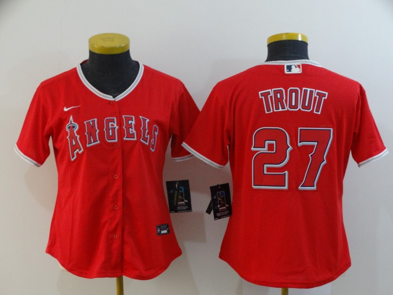 Angels 27 Mike Trout Red Women 2020 Nike Cool Base Jersey