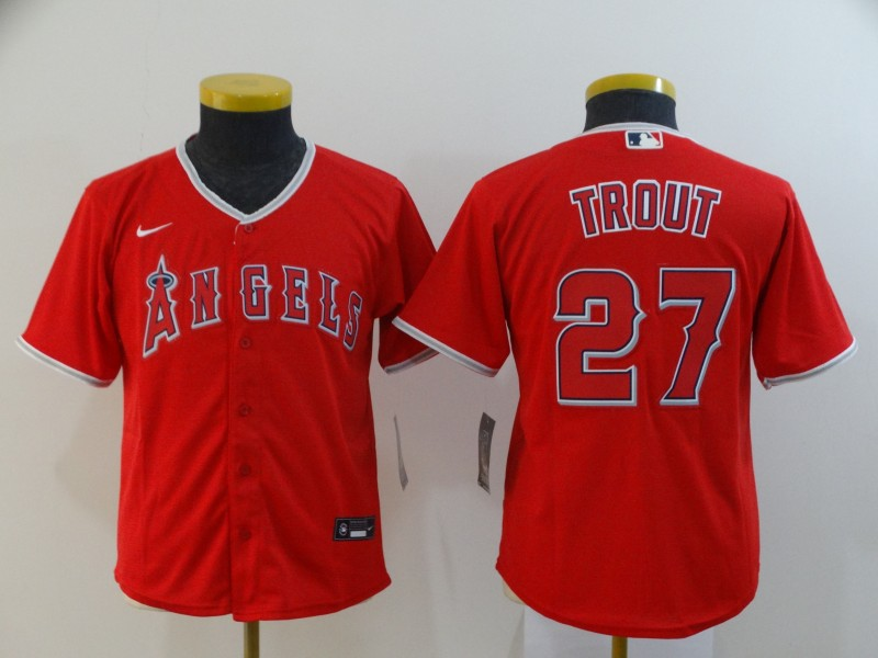 Angels 27 Mike Trout Red Youth 2020 Nike Cool Base Jersey