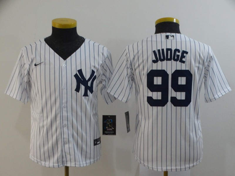 Yankees 99 Aaron Judge White Youth 2020 Nike Cool Base Jersey