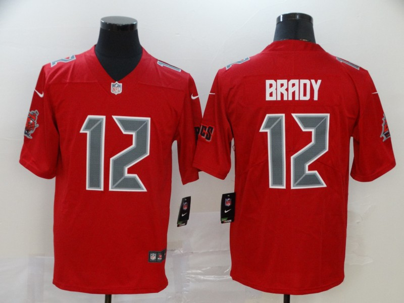 Buccaneers 12 Tom Brady Red Color Rush Limited Jersey