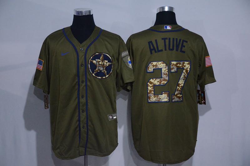 Astros 27 Jose Altuve Olive 2020 Nike Cool Base Jersey
