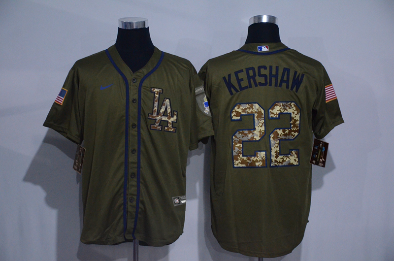 Dodgers 22 Clayton Kershaw Olive 2020 Nike Cool Base Jersey