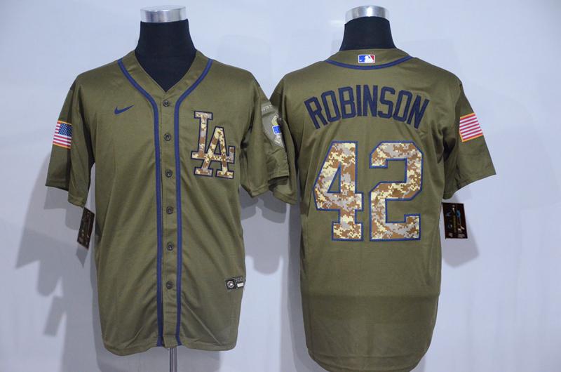 Dodgers 42 Jackie Robinson Olive 2020 Nike Cool Base Jersey