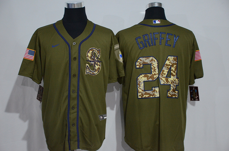 Mariners 24 Ken Griffey Jr. Olive 2020 Nike Cool Base Jersey