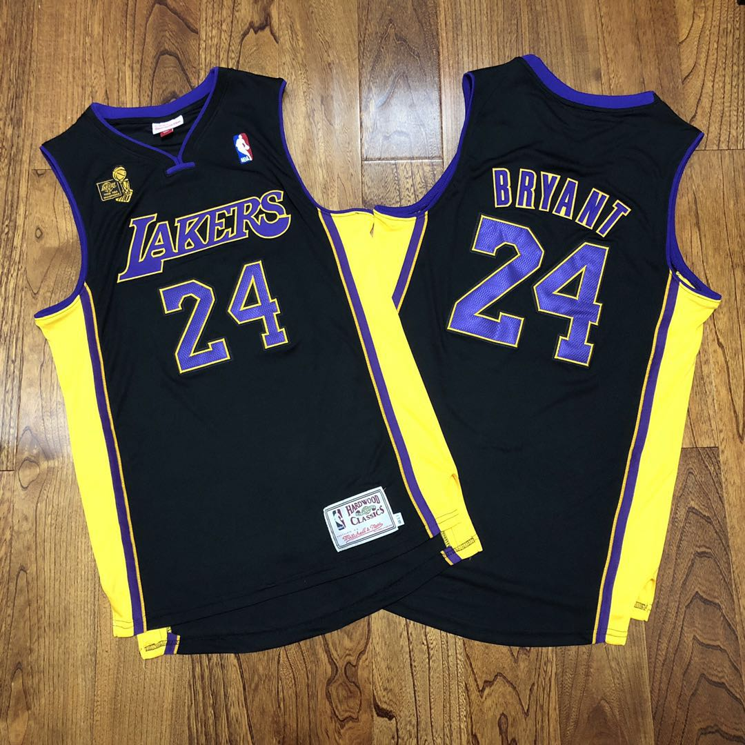 Lakers 24 Kobe Bryant Black 2009 NBA Champions Patch Adidas Hardwood Classics Jersey