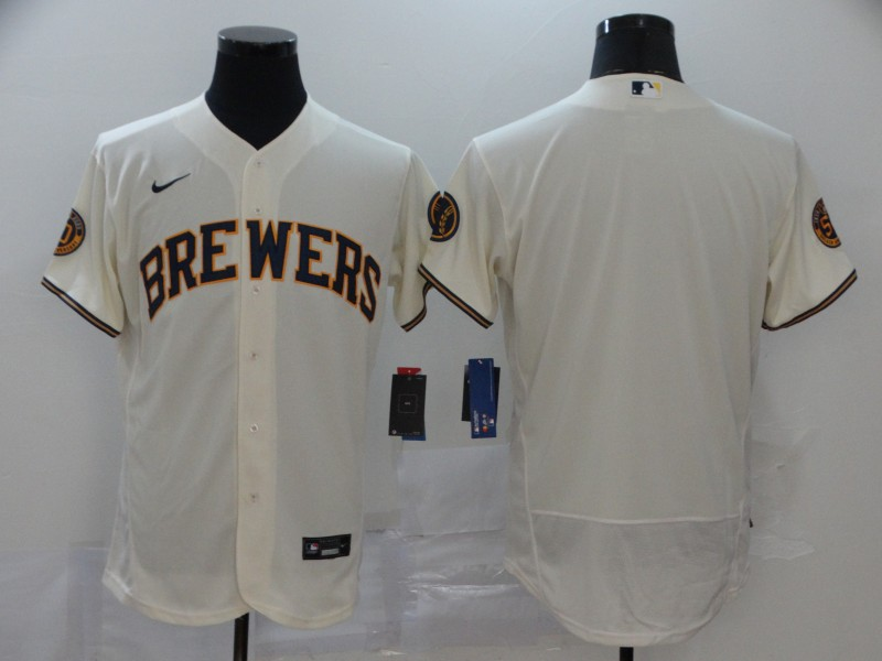 Brewers Blank Cream Nike 2020 Flexbase Jersey
