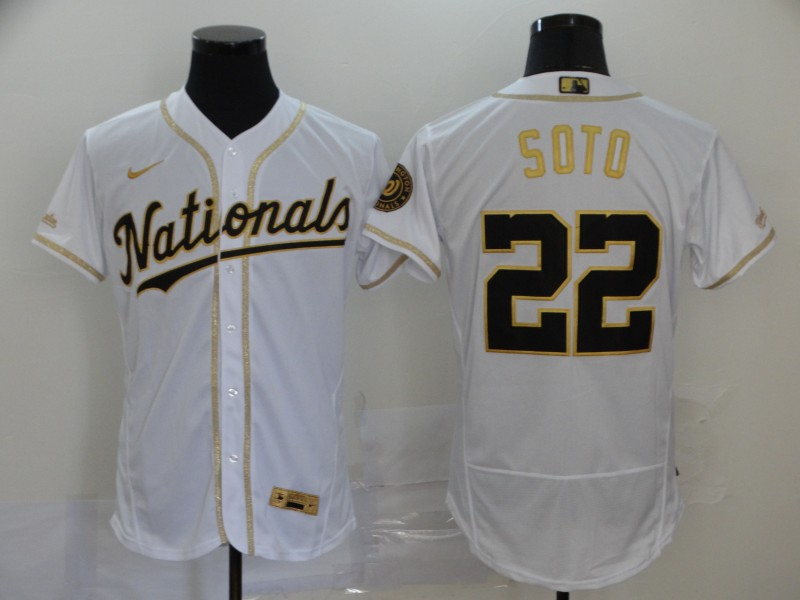 Nationals 22 Juan Soto White Gold 2020 Nike Flexbase Jersey