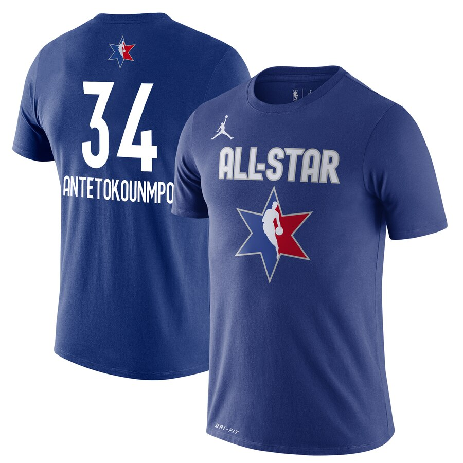 Giannis Antetokounmpo Jordan Brand 2020 NBA All-Star Game Name & Number Player T-Shirt Blue