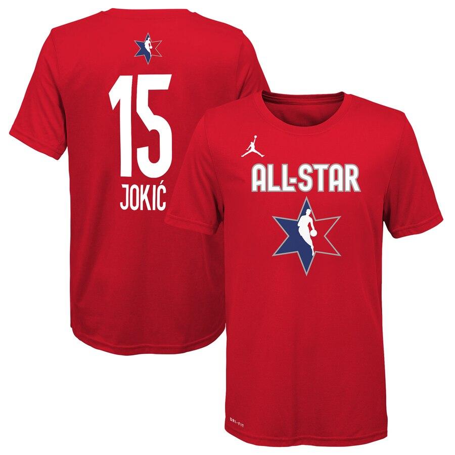 Jordan Brand Nikola Jokic Red 2020 NBA All-Star Game Name & Number T-Shirt