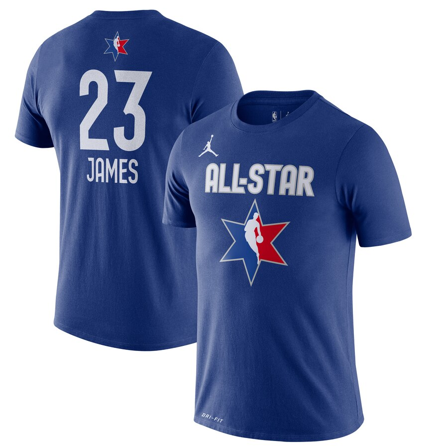 LeBron James Jordan Brand 2020 NBA All-Star Game Name & Number Player T-Shirt Blue