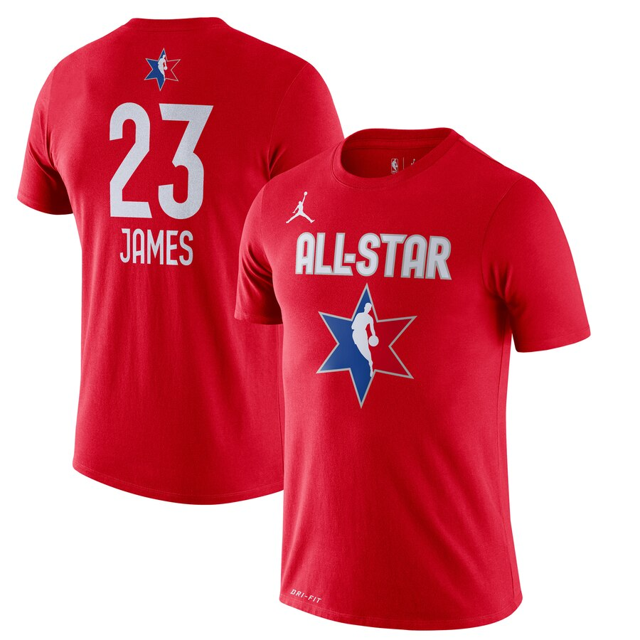 LeBron James Jordan Brand 2020 NBA All-Star Game Name & Number Player T-Shirt Red