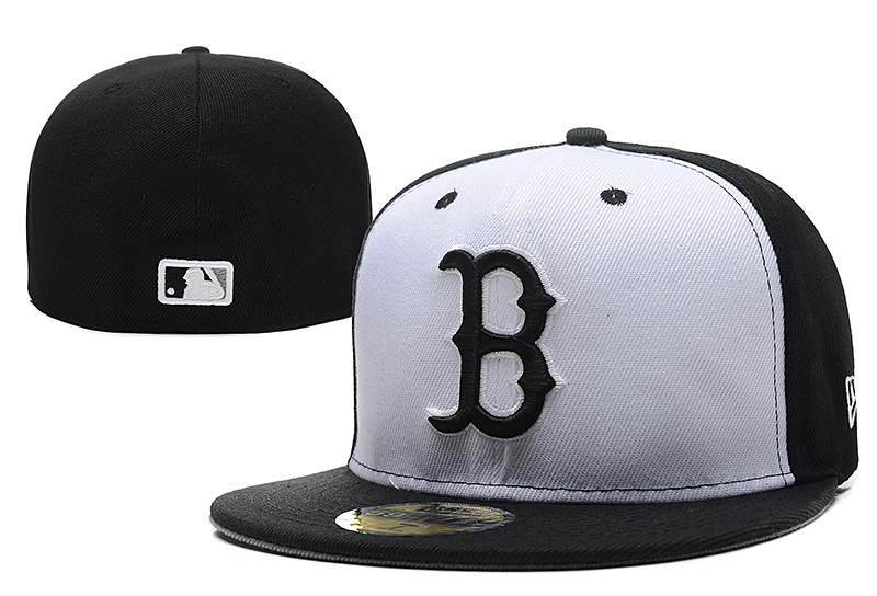 Red Sox Team Logo White Black Fitted Hat LX