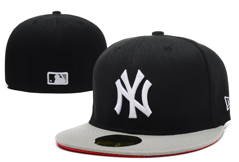Yankees Team Logo Black Gray Fitted Hat LX