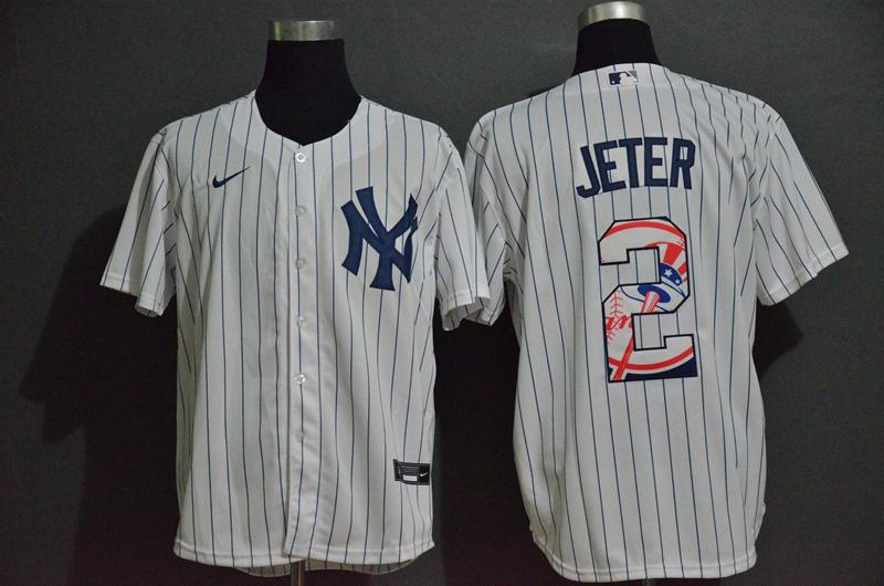 Yankees 2 Derek Jeter White Nike 2020 Nike Cool Base Fashion Jersey