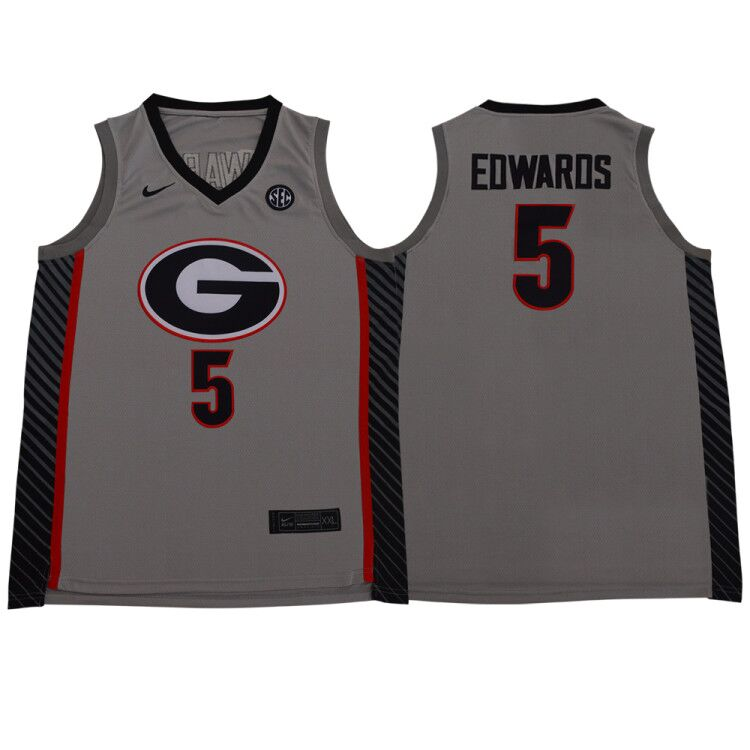 Georgia Bulldogs 5 Anthony Edwards Gray Nike College Basketball Jersey
