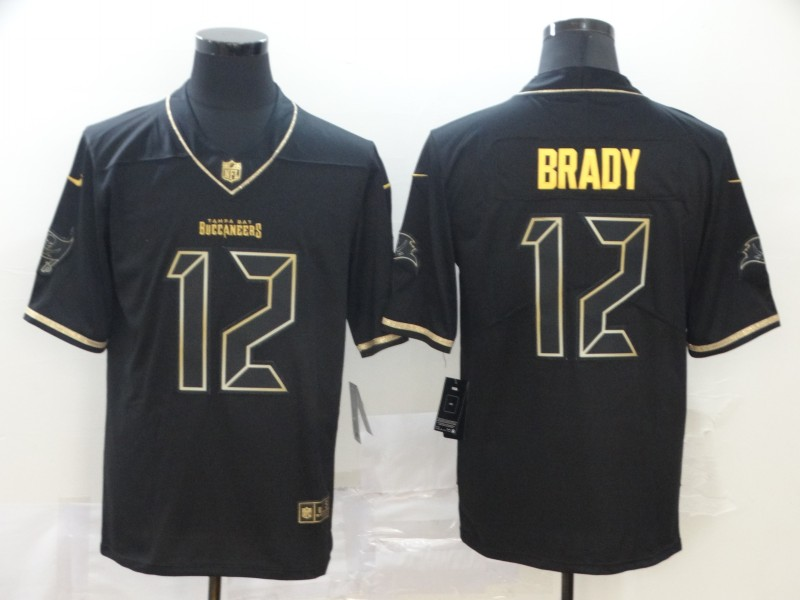 Buccaneers 12 Tom Brady Black Gold Vapor Untouchable Limited Jersey