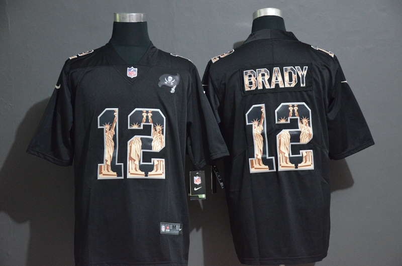 Buccaneers 12 Tom Brady Black Statue of Liberty Limited Jersey