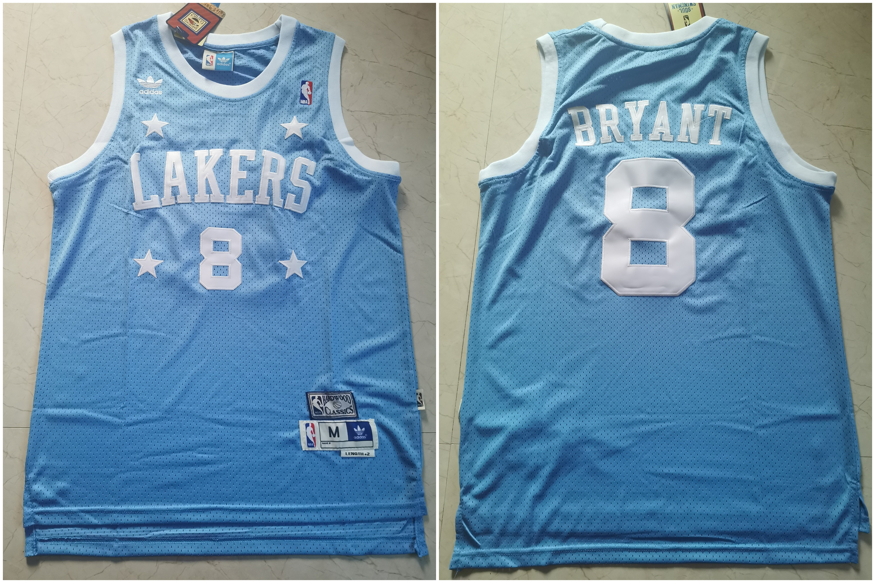 Lakers 8 Kobe Bryant Light Blue Hardwood Classics Jersey