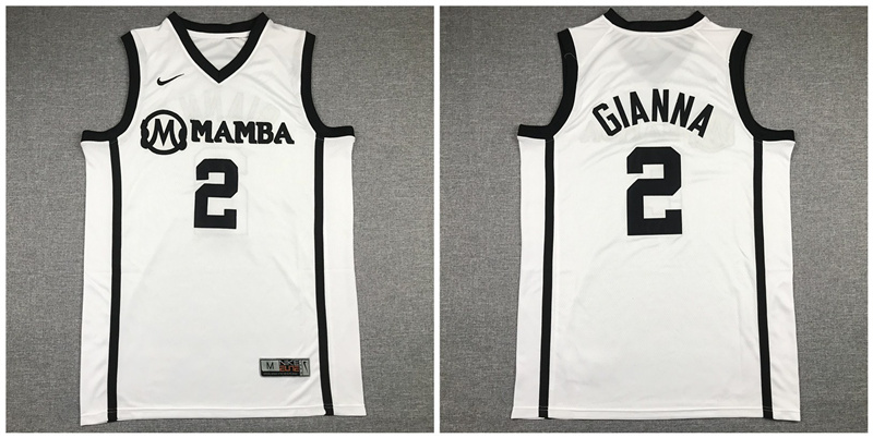 Mamba Gianna Maria 2 White Kobe Bryant Daughter Stitched Basketball Jersey