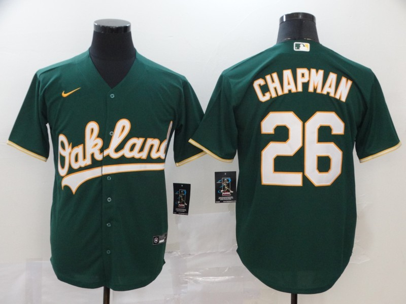 Athletics 26 Matt Chapman Green 2020 Nike Cool Base Jersey