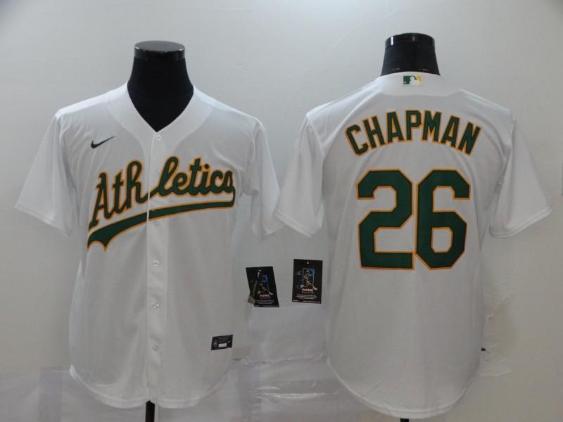 Athletics 26 Matt Chapman White 2020 Nike Cool Base Jersey
