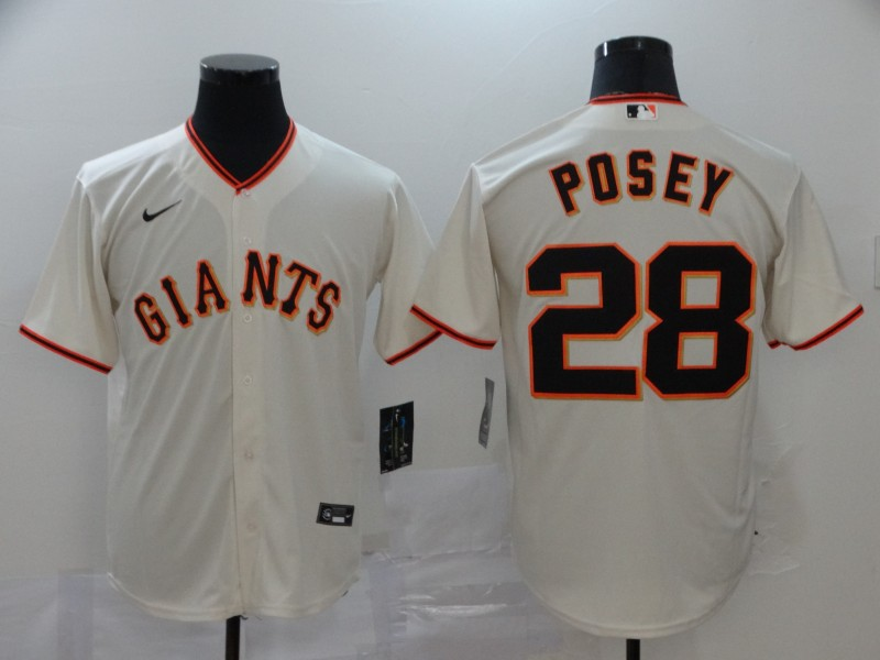 Giants 28 Buster Posey Cream 2020 Nike Cool Base Jersey