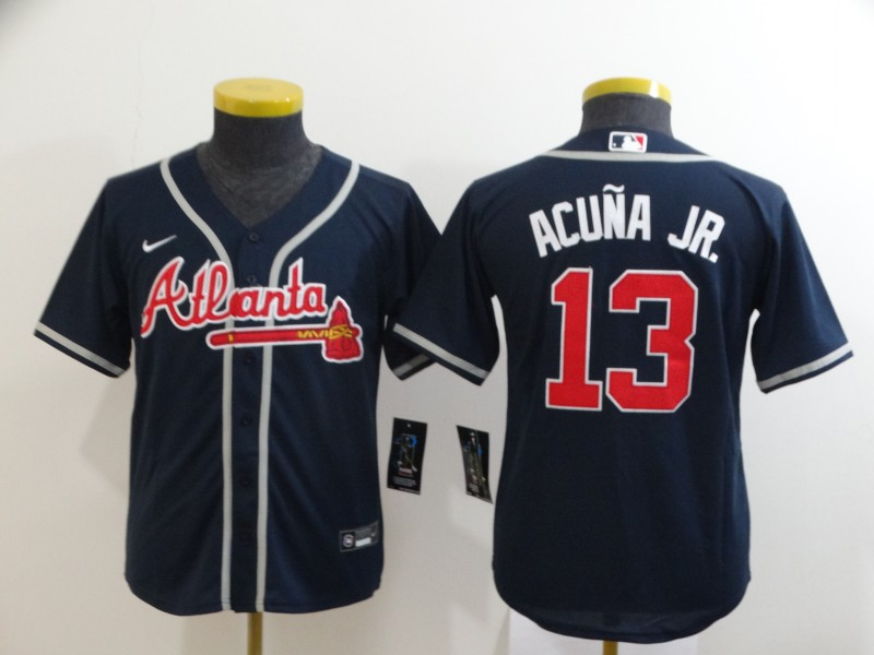 Braves 13 Ronald Acuna Jr. Nave Youth 2020 Nike Cool Base Jersey