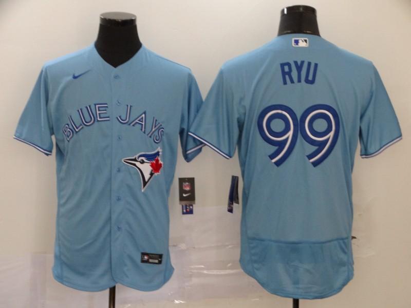Blue Jays 99 Hyun Jin Ryu Light Blue 2020 Nike Flexbase Jersey