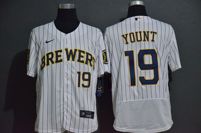 Brewers 19 Robin Yount White 2020 Nike Flexbase Jersey