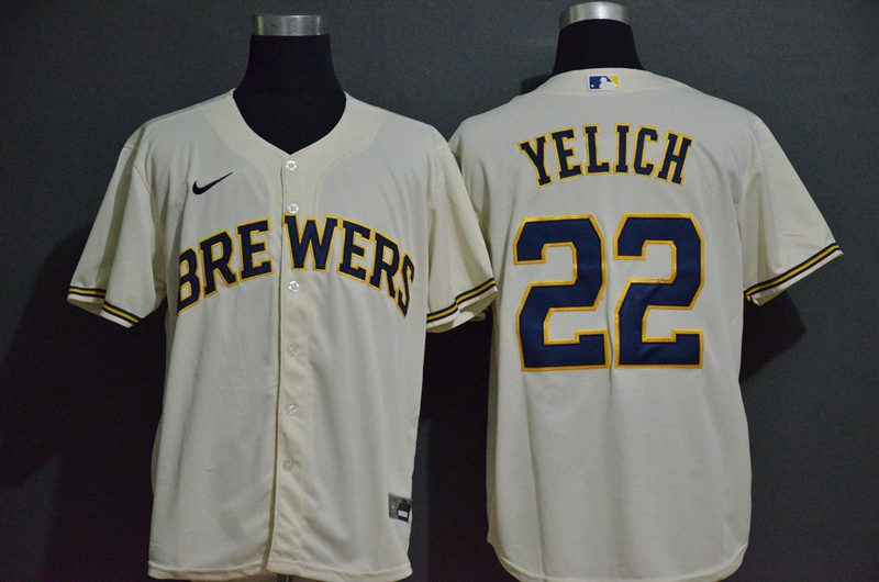 Brewers 22 Christian Yelich Cream Nike 2020 Cool Base Jersey