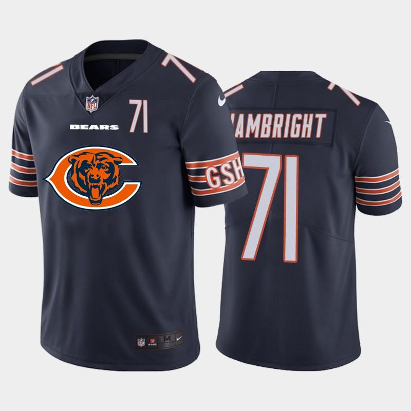 Nike Bears 71 Arlington Hambright Navy Team Big Logo Number Vapor Untouchable Limited Jersey