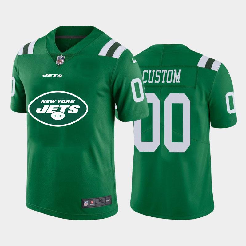 Nike Jets Customized Green Team Big Logo Vapor Untouchable Limited Jersey