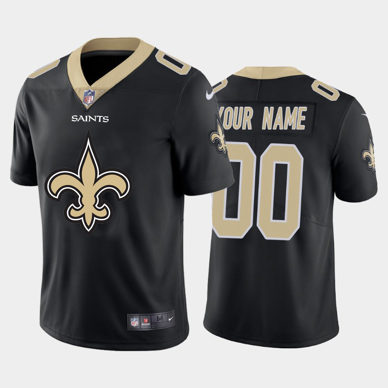 Nike Saints Customized Black Team Big Logo Vapor Untouchable Limited Jersey