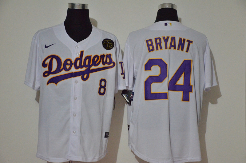 Dodgers 24 Kobe Bryant White 2020 Nike KB Cool Base Jerseys