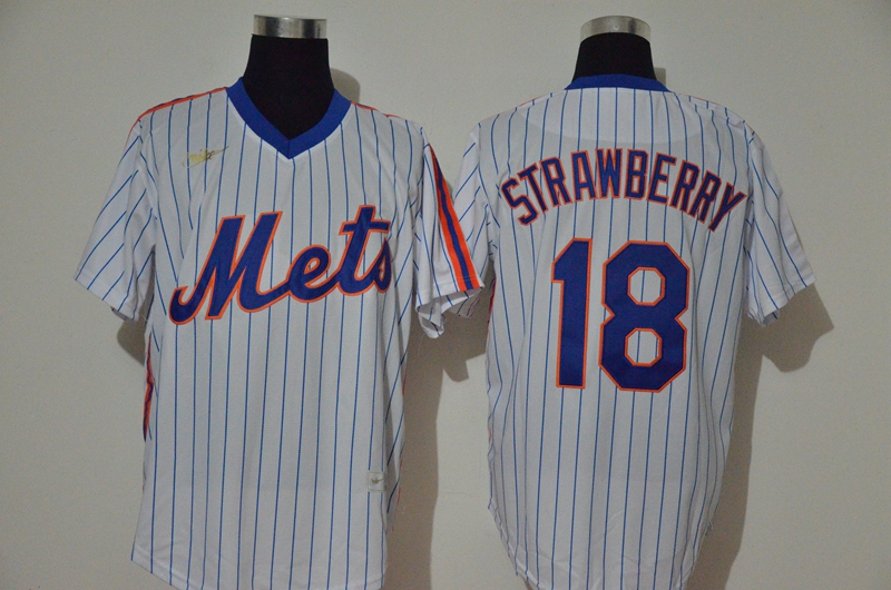 Mets 18 Darryl Strawberry White 2020 Nike Cool Base Jersey
