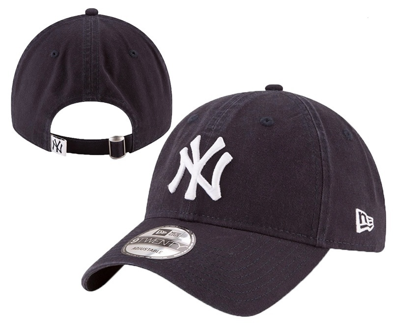 Yankees Team Logo Black Peaked Adjustable Hat YD